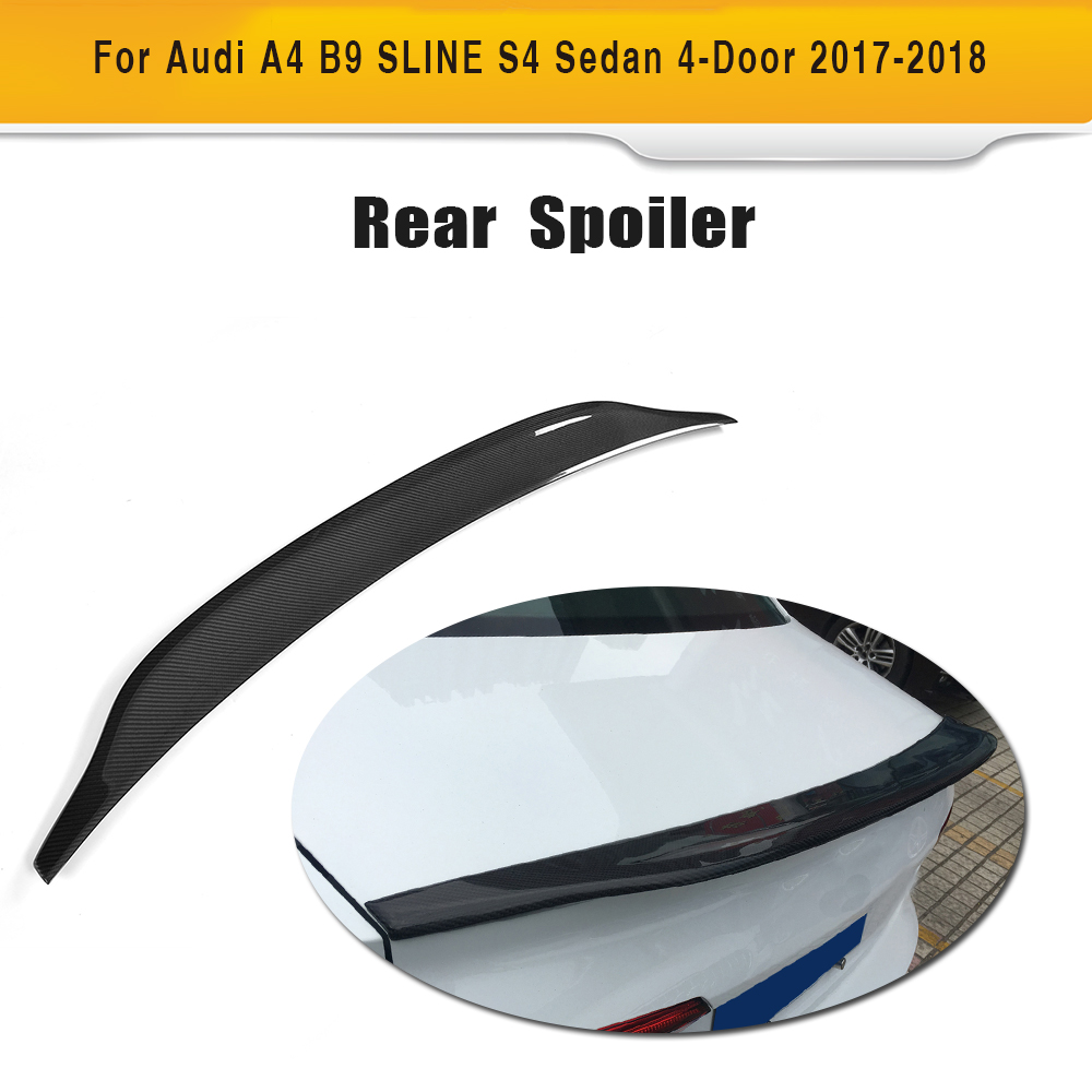Carbon Fiber Rear Lip Spoiler Window Wing For Audi A4 B8 B9 Sedan 4-Door 2009-2018