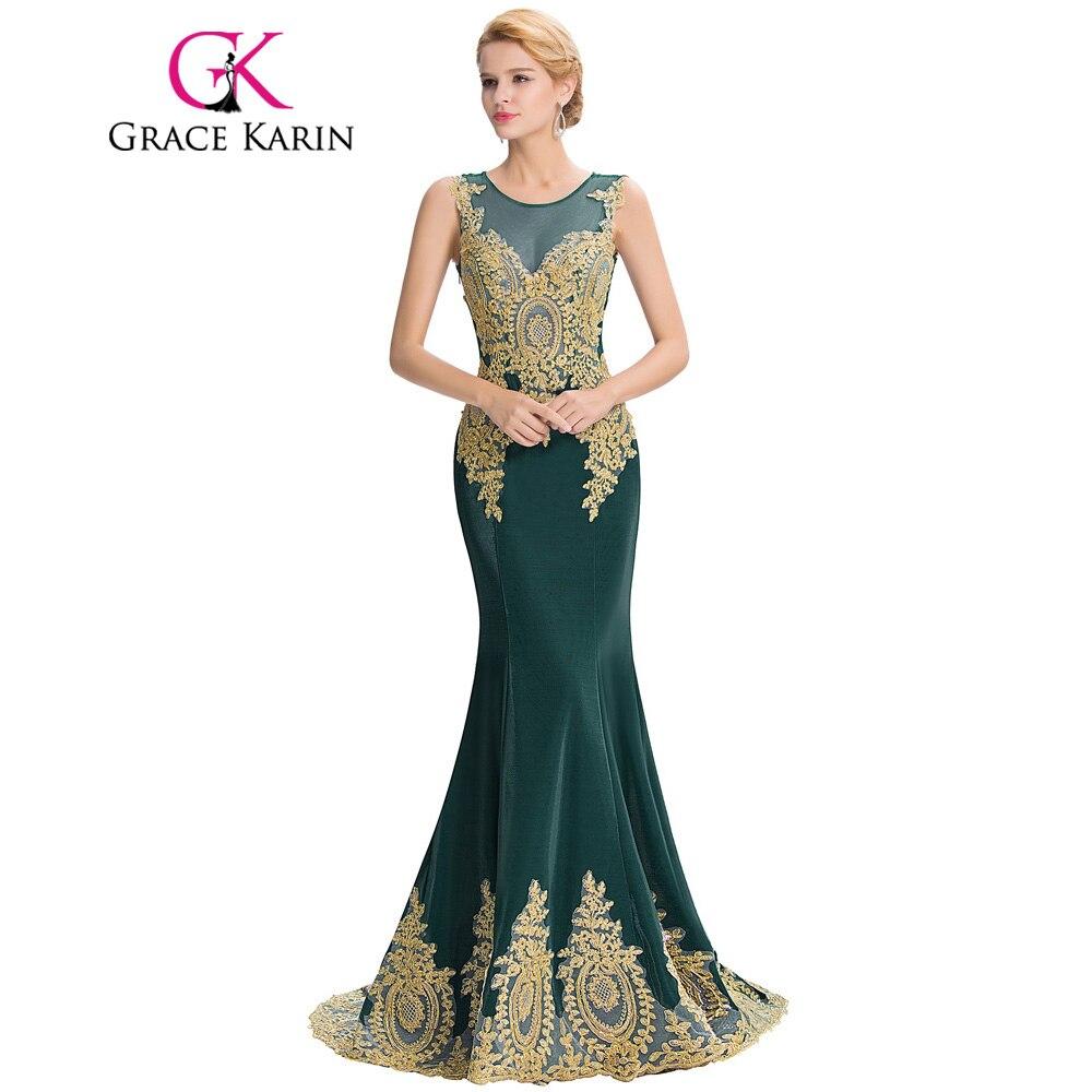 Grace karin sleeveless mermaid peacock emerald green for Wedding party dresses 2017