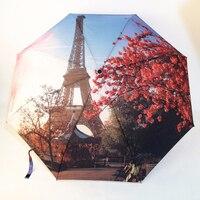 3 Katlama Moda Otomatik Şemsiye Paris Kulesi Yağlıboya Şemsiye/Uv Güneş/Yağmur Şemsiye Şemsiye SunshadeParasol Hediye