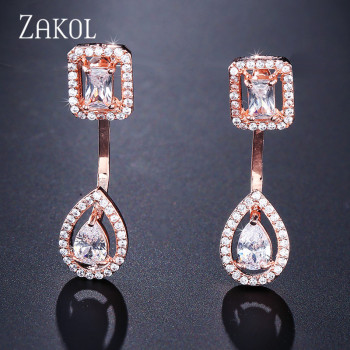 ZAKOL Brand Fashion Design Jewelry Set Sparking CZ Stone Earrings Bracelet & Bangle Ring For Women 2