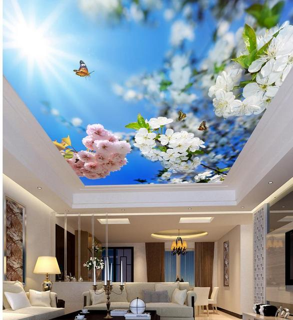 Us 17 34 49 Off Beautiful Sunshine And Blue Flowers Living Room Bedroom Ceiling 3d Wallpaper Flower Ceilings 3d Mural Designs In Wallpapers From