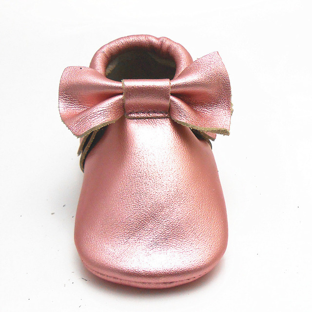 Hot Sell Shiny Pink Baby Girls Shoes Fringe Bow Cow Leather Baby Moccasins  Designer Soft Soled Infant Toddler Shoe Free Shipping f3b8821a3028