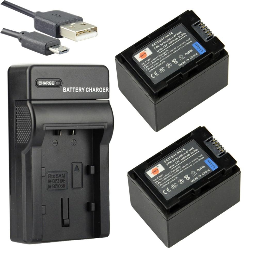DSTE 2PCS IA-BP420E Li-ion Battery + UDC105 USB Port Charger For SAMSUNG SMX-F40 F44 F50 F70 F54 HMX-H200 Camera 1pcs cga s006e cgrs006a cgr s006e cgr s006a 1b bp dc5u rechargeable camera li ion battery for panasonic bp dc5 e