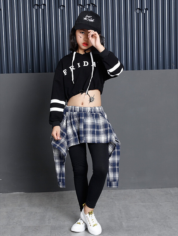 72b28e99340e11 Товар Teens Girls Two Piece Set Long Sleeve Children Crop Tops And Plaid  Skirt Pant Kids Hip Hop Dance Clothes Girls Children Spring -