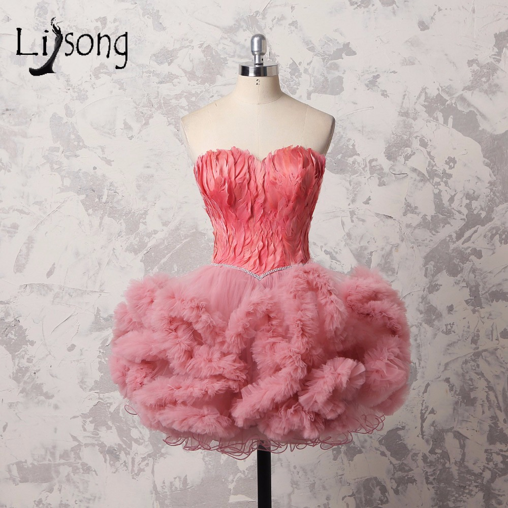 Lovely Short Feather   Cocktail     Dresses   2018 Dusty Pink Crystal Mini Puffy Formal Party   Dresses   Ruffles   Dress   For Graduation