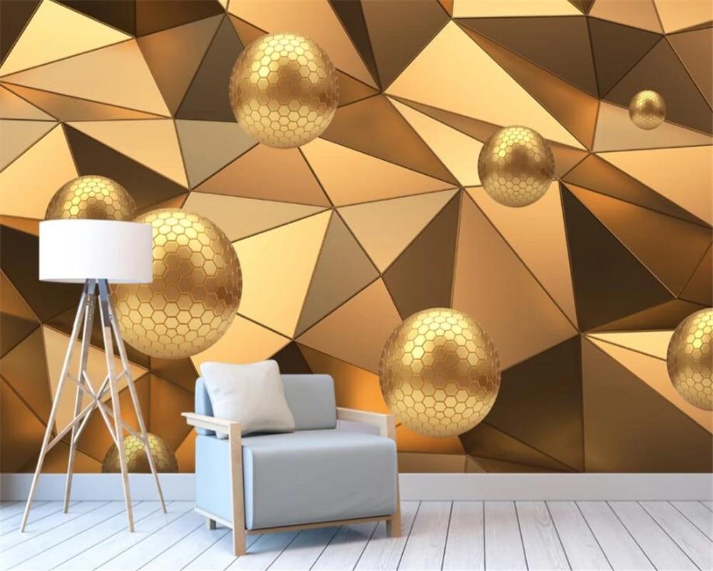 Carta Da Parati 3 D.Beibehang Custom Wallpaper Mural Golden Sphere Cuboid Abstract Architectural Background Wall Mural 3d Wallpaper Carta Da Parati Wallpapers Aliexpress