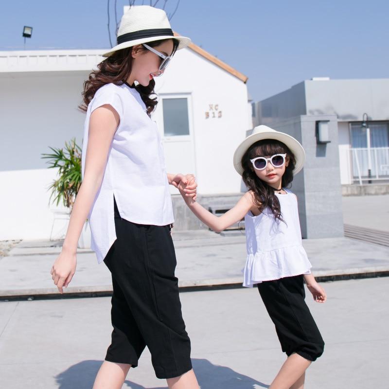 Famille correspondant tenues mère père et bébé fille fils correspondant vêtements Couple costume grande soeur pantalon petit frère short 4