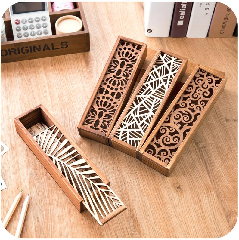 Hollow Wood Pencil Case Storage Box Wooden School Gift