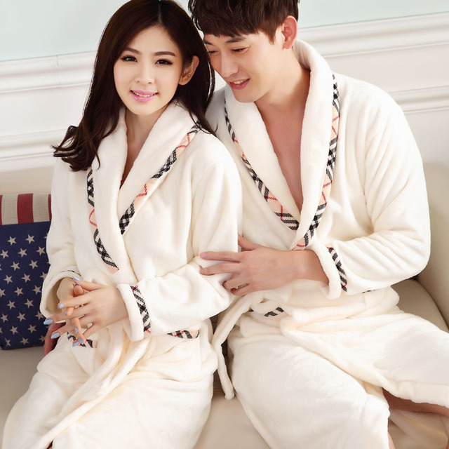 Pijama Hombre Kimono Camisola Robes Bathrobe Men 2016 Fall Winter Flannel Nightgown Long Sleeved Robe Woman Couple Thickened