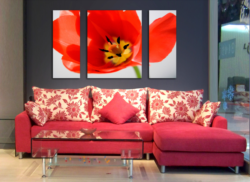 Free ship Romantic 3pcs Red Flower Design The Pictures Paint Oil Painting On Canvas Wall Art Crafts Home Decoration SYP-0344
