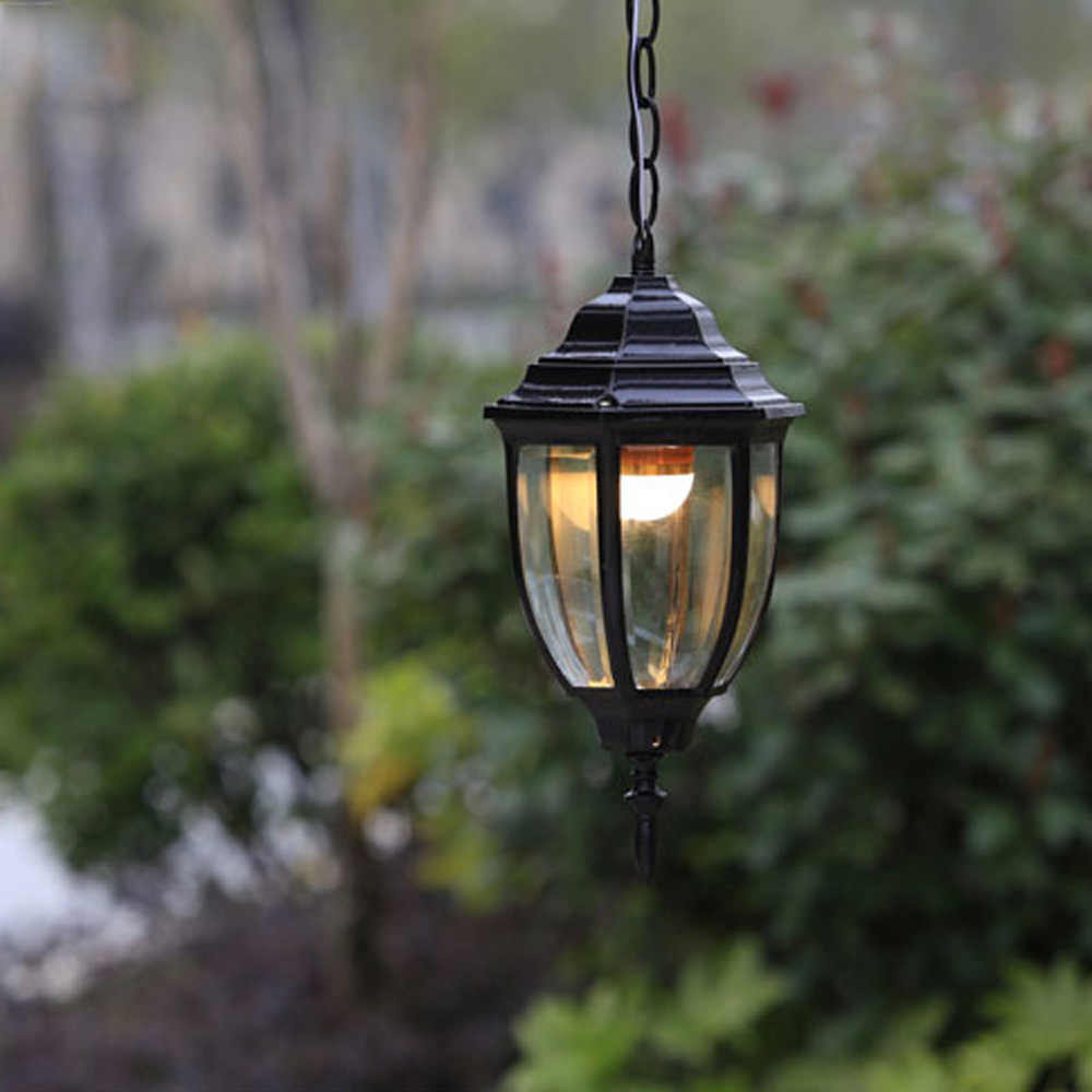 Outdoor Vintage Pendant Light Lamparas Colgantes Droplight Aluminum Black and Brown Shade Outdoor Garden Pendant Luminaire Lamps
