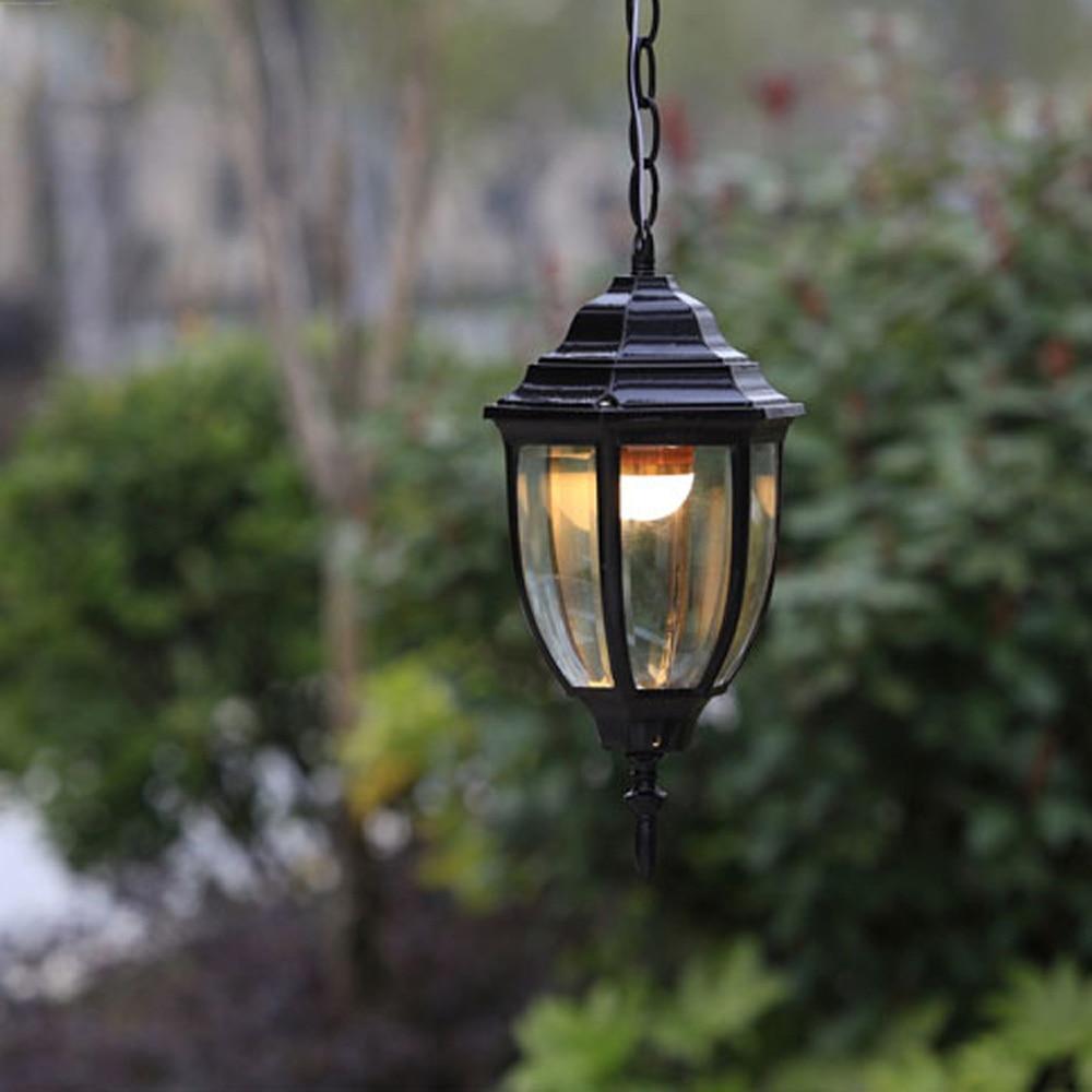 Outdoor Vintage Pendant Light Lamparas Colgantes Droplight Aluminum Black And Brown Shade