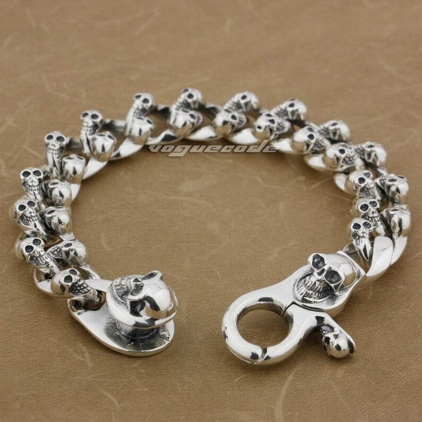6 Length Heavy 925 Sterling Silver Skulls Mens Biker Bracelet 8F009