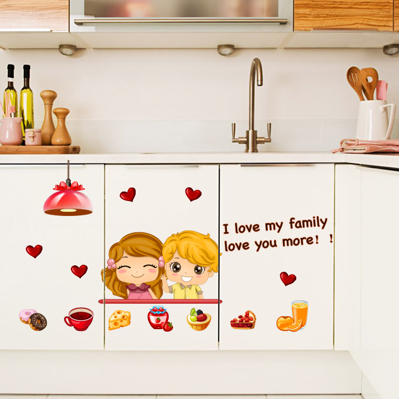 Galleria fotografica <font><b>Happy</b></font> Time Wall Decal Sticker <font><b>Home</b></font> Decor DIY Removable Art Vinyl Mural For Kitchen Background/Cabinet/Dining Room QTB301 Cartoon