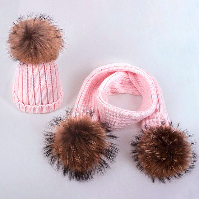 SIMPLESHOW Children Pompoms Winter Hat Scarf Set Girls Boys Winter Knitted Caps Scarves Kids Set 2 Pieces Warm Thack Hat Scarf