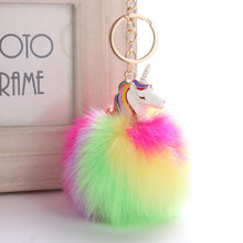 Flamingos Silicone Crown Keychain Rabbit Fur Ball Baby Toy Car Key Holder Bag Pendant Charm Accessories Jewelry Gift(China)
