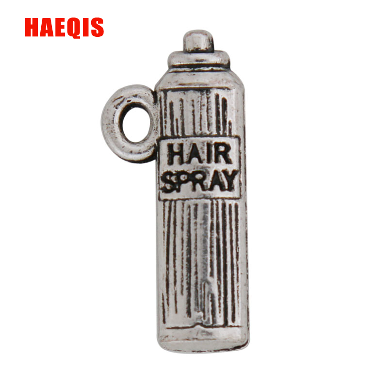 HAEQIS Fashion Hair Spray Bottle Shape Charms Double Sided Alloy Vintage Charms 50pcs 10*22mm AAC840