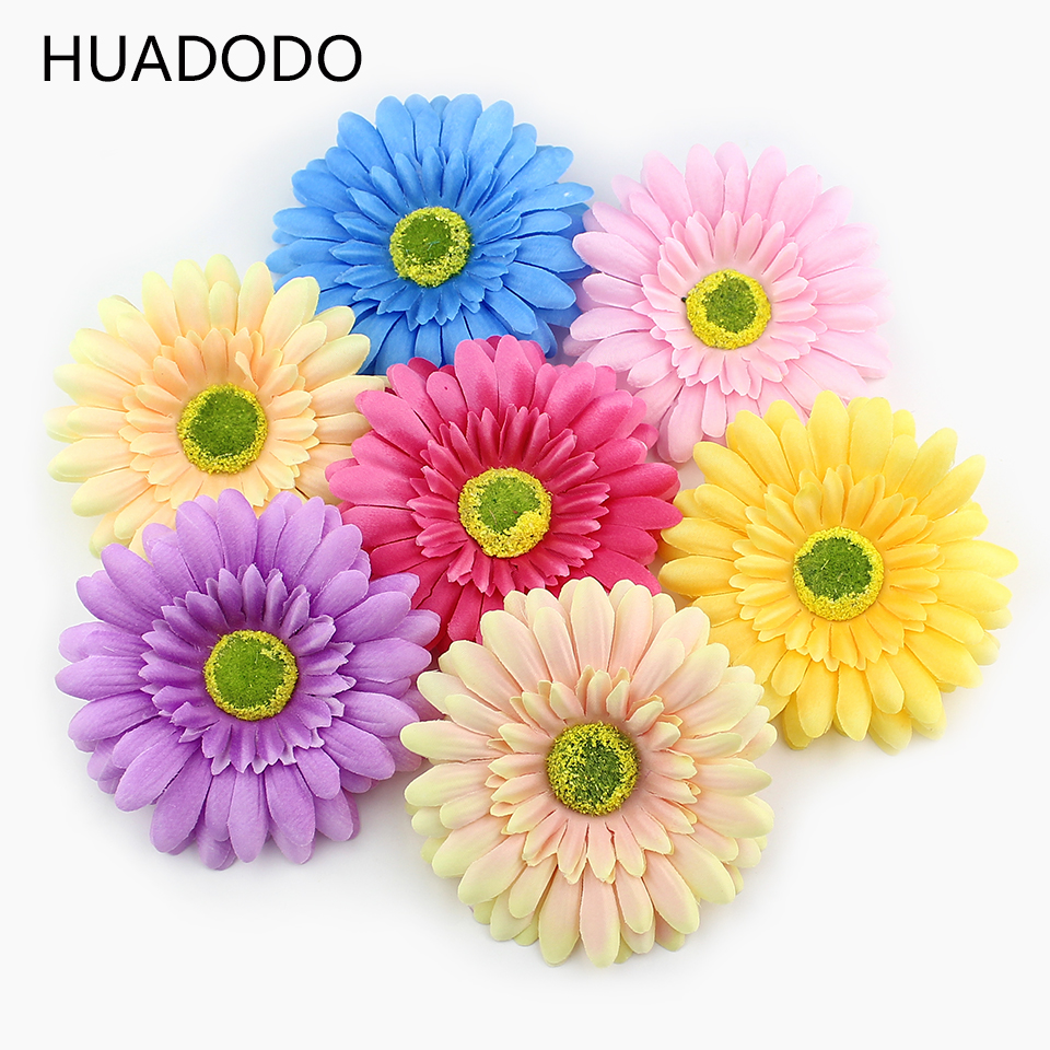Huadodo 10cm 5pieces Chrysanthemum Flower Heads Silk Artificial Flowers For Home Wedding