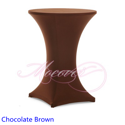 Chocolate Brown colour table cover cocktail table cloth lycra high bar table linen weddi ...