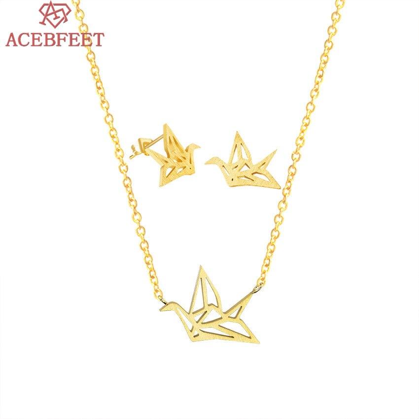 ACEBFEET Silver Earrings Necklace Set Wedding Jewelry Origami Crane Halskette Stainless Steel Animal Schmuck BFF Women