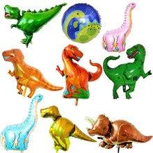 Giant Green Dinosaur Folie Ballon Gelukkige Verjaardag Papier Banner Voor Jurassic Dino Wereld Decoraties Jungle Feestartikelen Jongens Speelgoed