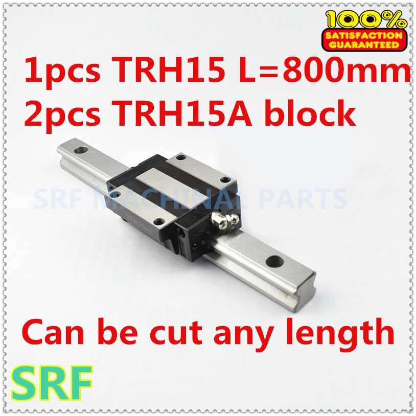 1pcs 15mm width Linear Guide Rail TRH15 800mm linear rail +2pcs TRH15A Flange slide block for cnc parts linear guide for 3d printer 1pc trh15 l200mm linear rail 2pcs trh15a flange block