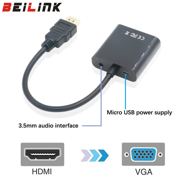 HDMI to VGA Adapter with Audio Cable Male To Female 1080p For PC/HDTV DVD