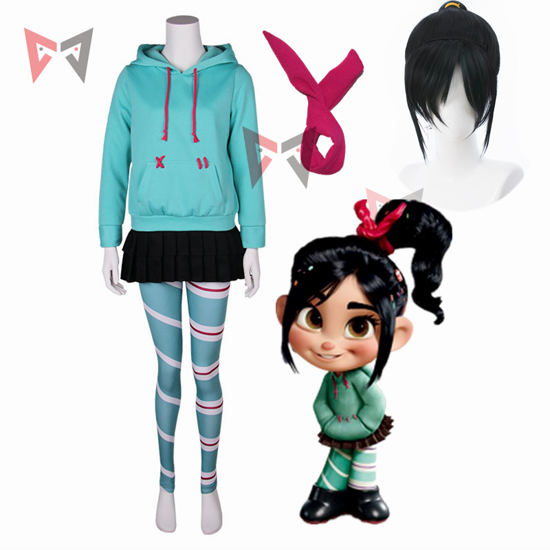 quality design e3f3c a8fd1 US $52.24 19% OFF|MMGG Wreck It Ralph Cosplay costume Vanellope von  Schweetz game anime hoodies skirt pantyhose hairband for kids girl women-in  Game ...