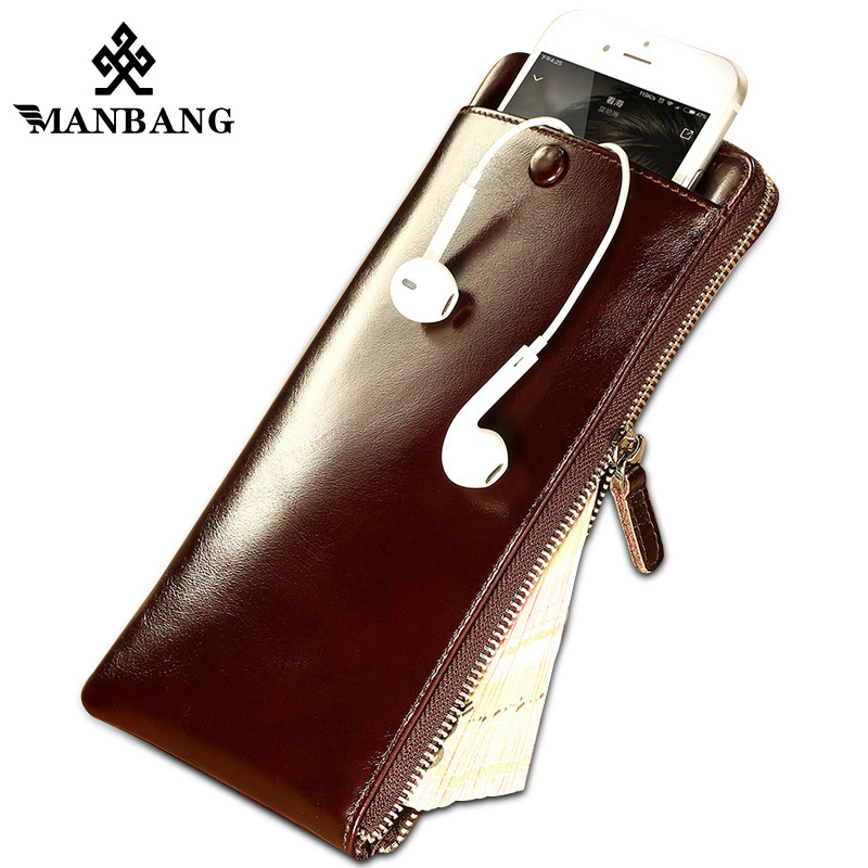 ManBang 2017 New Genuine Leather Long Wallet Men Purse Male Clutch Zipper Around Wallets Money Bag Pocket Mltifunction new arrival leather wallets men brand business long purses money bag credit card holder 2017 new zipper phone clutch wallet male
