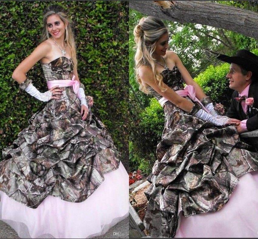 Elegant Camo Wedding Ideas: 2016 New Pink Rustic Wedding Dress Ball Gown Elegant