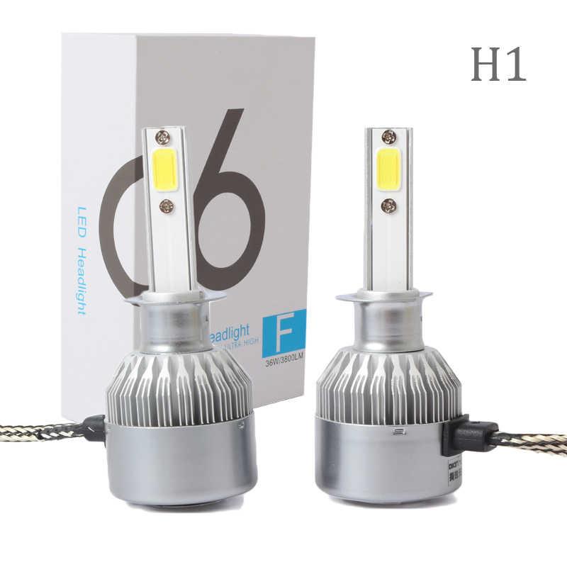 Pair Car White LED Light Headlight C6 H1 8000K 80000LM 100W High/Low Beam Bulbs