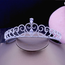 Fashion elegant retro Paved CZ zircon Princess crown wedding bride dinner banquet Beauty tiaras hair jewelry free shipping