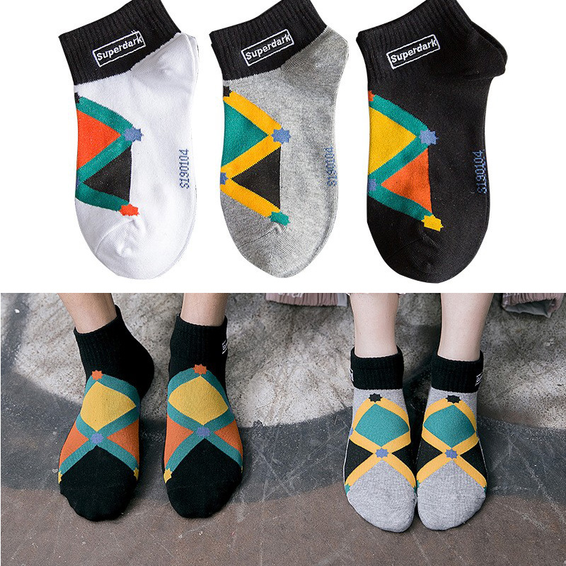 Men's socks quality men's combed cotton cotton embroidered diamond personality street hip hop skateboard socks men short socks