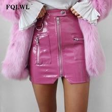 FQLWL Pink Zipper Pocket PVC PU Leather Sexy Skirt Women High Waist Bodycon Shor