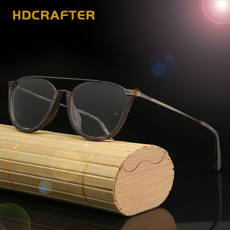 HDCRAFTER Vintage sin montura Semi vidrios ópticos de madera bambú ...