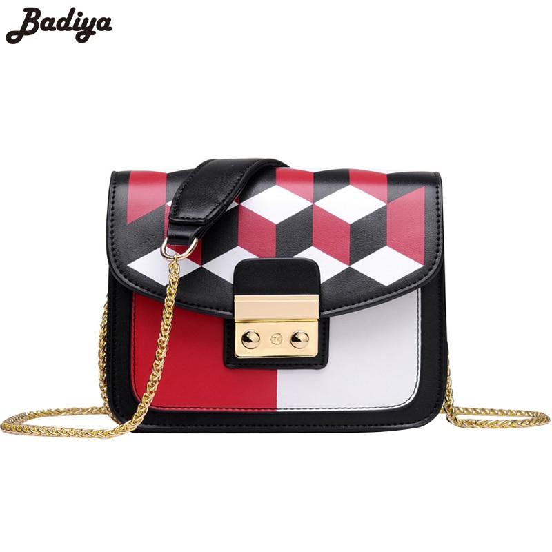 New European Style Chains Strap Fashion Women Shoulder Bag Patchwork Plaid Elegant Female Bags Ladies Messenger Bag