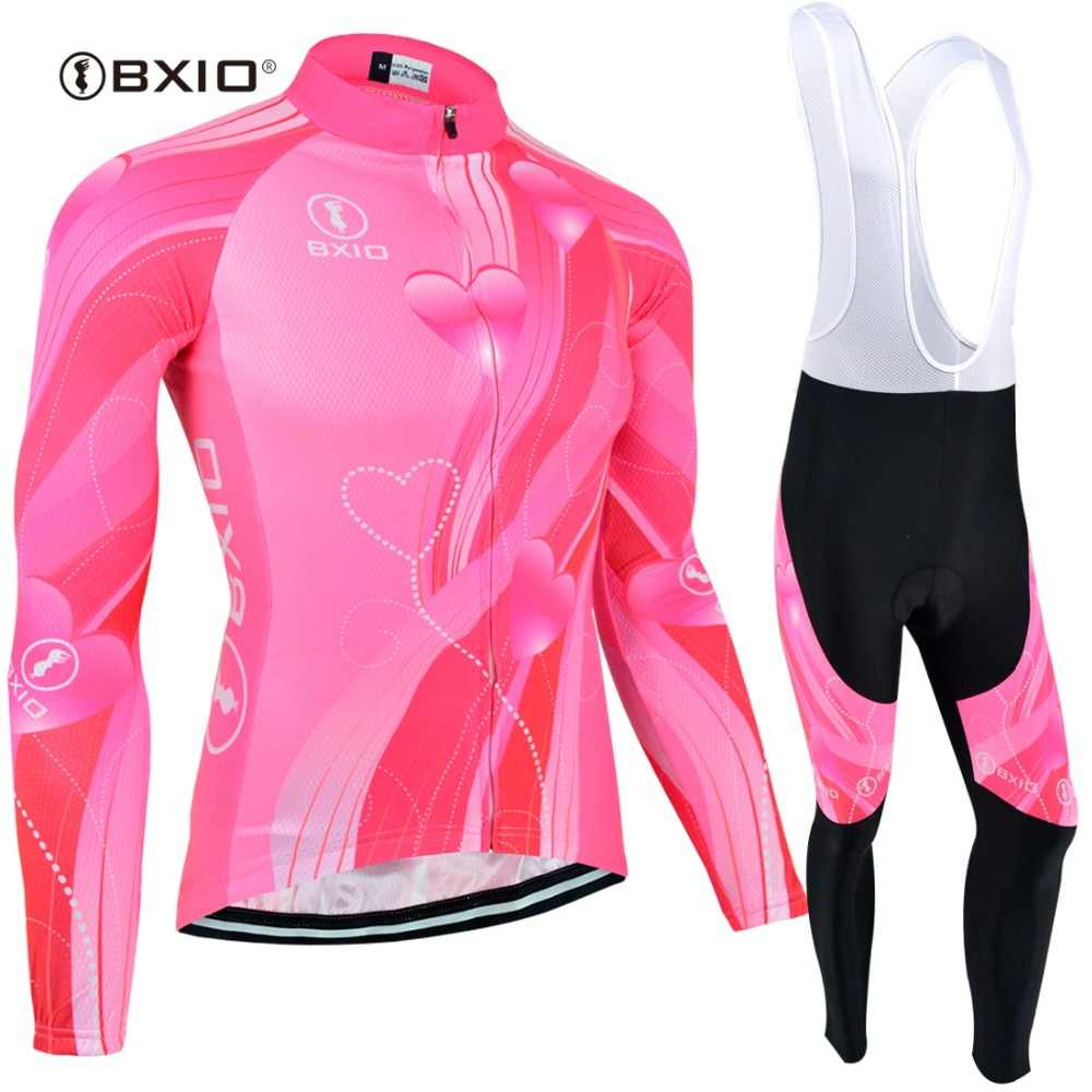BXIO Women Winter Thermal Fleece Long Sleeves Cycling Jersey Sets Ropa Ciclismo Mtb Mountain Bike Sportswear Maillot 123