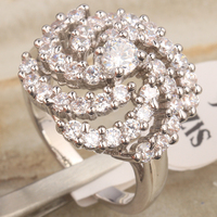 Dazzling Rotating Flower White Crystal 925 Sterling Silver Fashion & Trendy Women's Jewelry Rings Size 6 7 8 9 S0900