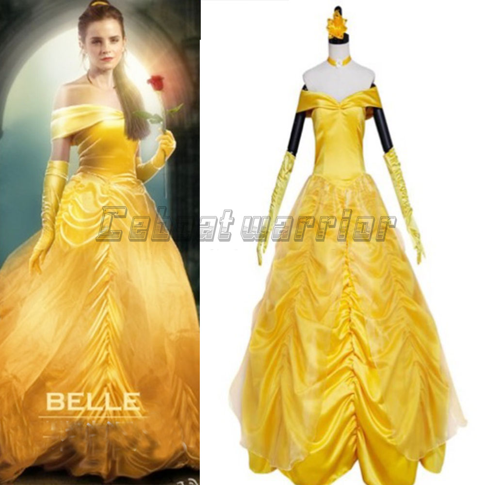 2018 Movie Beauty and the Beast Princess Belle  cosplay costume Belle adults yellow dress Custom made