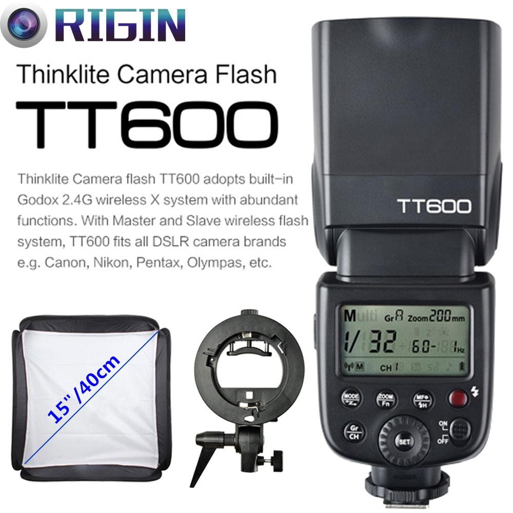 Godox TT600 GN60 HSS 1/8000s Camera Flash Speedlite 2.4G Wireless X System+Godox S Type Bracket+Softbox Kit For Canon/Nikon flash speedlite godox tt600 camera flash - title=