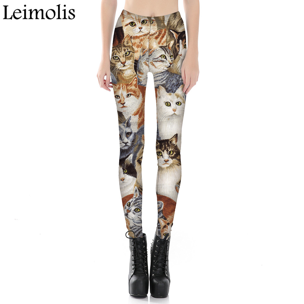 Leimolis 3D Printed Fitness Push Up Workout Leggings Women Gothic Lovely Cat World Plus Size High Waist Punk Rock Pants