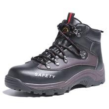 Super grande taille 47 48 hommes de mode embout en acier chaussures de sécurité de travail printemps automne en cuir véritable outillage cheville bottes zapatos