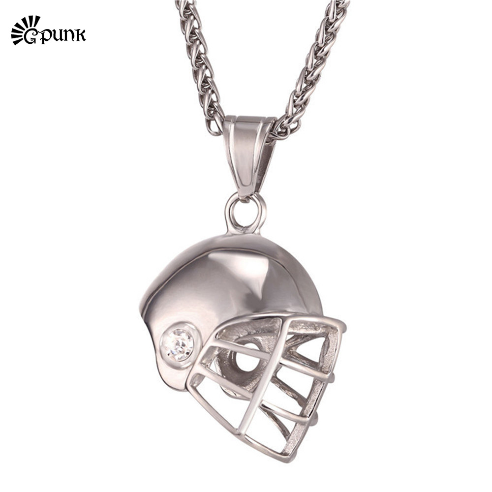 stainless steel Sports Ball Rugby Helmet Necklace new Pendant black / gold color American Football Collar P2459G