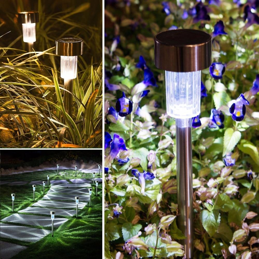 10 StÜcke/5 StÜcke Wasserdicht Solar-led-garten Rasen Lichter Außen Boden Garten Licht Solar Pfad Lawn Beleuchtung Lampe Edelstahl