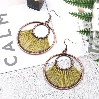 Fashion Bohemian Gold Silver Geometric Circle Drop Dangle Charm Earrings Jewelry