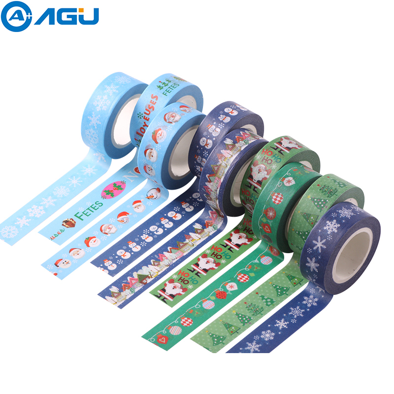 AAGU 1PC New Arrival Christmas Santa Claus Snowman Decorative Washi Tape Single Sided Paper Masking Tape Adhesive Paper Tape aagu 1pc 8mm 7m label stationery red black dot stripe washi tape decorative masking tape lovely high viscosity paper sticker