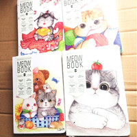 1lot Pcs 183 132mm Vintage Kawaii Meow Series Binding Style Kraft Paper NoteBook Cat Diary Stationery