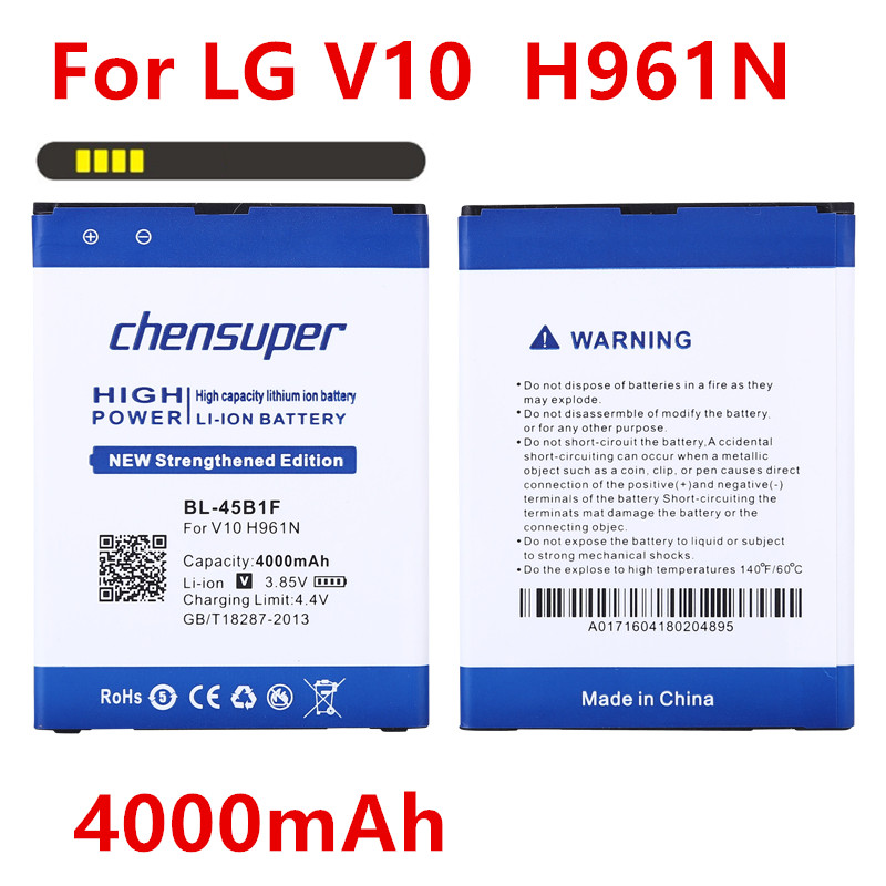 100% Original Chensuper High Quality Battery 4000mah Bl-45b1f Battery For Lg V10 Battery H961n F600 H900 H901 Vs990 H968 Bl45b1f To Have A Unique National Style Cellphones & Telecommunications Mobile Phone Parts