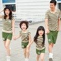 Stripe família vestuário t-shirt + Shorts roupas família define roupas para mãe e filha pai filho crianças roupas CP62