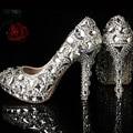 Последним кристалл высокие каблуки блеск горный хрусталь обувь для выпускные ну вечеринку пром мода женщины свадебное платье обувь для новобрачных